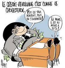 caricature banque postale et son crédit revolving
